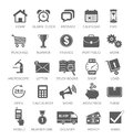 Icons for web and mobile applications home alarm clock watch message calendar time purchase rummer winner finance portfolio Royalty Free Stock Photos