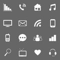 Icons for website set on gray Royalty Free Stock Photos