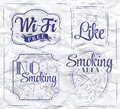 Icons wifi ink set signs wi fi free smoking area no smoking like stylized drawing in Royalty Free Stock Photos