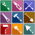 Icons of working tools set different color Stock Photo