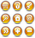 Icons in yellow Stock Image