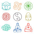 Icons of yoga vector illustration set Stock Image