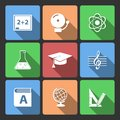 Iconset for educational app school isolated vector illustration Royalty Free Stock Photography