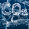 Icy chemical formula of carbon dioxide co greenhouse gas made from ice on winter frozen lake baikal Stock Image