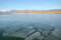Icy lake surface of with huge chunks of ice Royalty Free Stock Photo