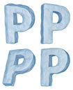 Icy letter P. Stock Photo