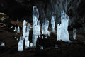 Icy stalagmites at Karani-koba cave in Crimea mountains,Karabi p Stock Image