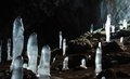 Icy stalagmites at Karani-koba cave,Crimea,UKraine Stock Images