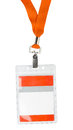 Id badge holder plastic with orange lace on white Royalty Free Stock Photography