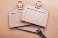 Id card holder leather id card holder hand craft tool Stock Photography