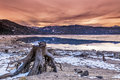 Idaho sunrise over a lake in winter colorful Royalty Free Stock Photography