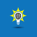 Idea bulb brain with solutions concept vector glowing icon this graphic also represents creative problem solving genius mind Royalty Free Stock Images