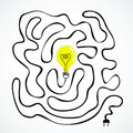 Idea bulb with wire labyrinth illustration Royalty Free Stock Images