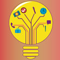 Idea bulb a yellow full with elements you will need to realiza an Royalty Free Stock Photos