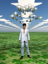 Idea bulbs hover above mans head in symbolic landscape Royalty Free Stock Image