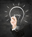 Idea businessman drawing lightbulb or creativity concept Stock Photos