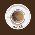 Idea cofee a heart drawn in a brown in a mug with ideas Royalty Free Stock Photography