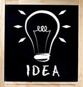 Idea concept on chalkboard handwritten with white chalk blackboard in wood frame isolated white background please visit my Stock Image