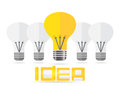 Idea concept lamp and text. Vector EPS10. Royalty Free Stock Photo