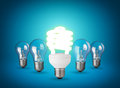 Idea concept with light bulbs on blue background Stock Photo