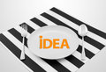 Idea concept on ready to serve dish with spoon and fork Royalty Free Stock Photo