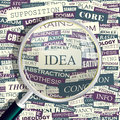 Idea concept related words in tag cloud conceptual info text graphic word collage Royalty Free Stock Images