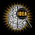 Idea creation concept thinking inside human brain Royalty Free Stock Images