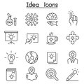 Idea, Creative, Innovation, Inspiration icon set in thin line st