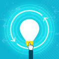Idea durability vector illustration of big lightbulb and digital hand representing concept Royalty Free Stock Photography