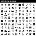 100 idea icons set, simple style