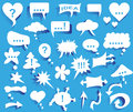 Idea image icons with white thoughts on blue background Stock Photos