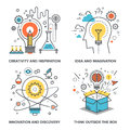 Idea and imagination vector set of conceptual flat line illustrations on following themes creativity inspiration innovation Stock Image