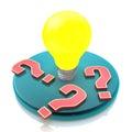 Idea Light Bulb Amongst Questi...