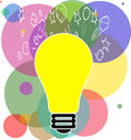 Idea light bulb illustration with a and colorful background Royalty Free Stock Photo