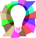 Idea light bulb illustration with a and colorful rays Royalty Free Stock Photography