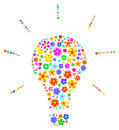 Idea light bulb made of flowers abstract vector illustration Stock Images