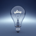 Idea light d render of bulb with text Royalty Free Stock Photos