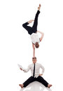 Idea of multitasking businessmen gymnasts isolated on white Stock Image