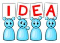 Idea people symbolic figures holding up signs saying Royalty Free Stock Photos
