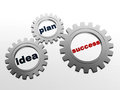 Idea, plan, success in grey gear-wheels Stock Photo