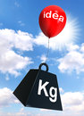 Idea sign on red balloon lifting weight black with word kg Royalty Free Stock Photo