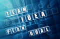 Idea, team, plan, goal in blue glass blocks