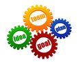 Idea, team, plan, goal in colorful gearwheels Royalty Free Stock Photos
