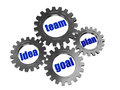 Idea, team, plan, goal in silver grey gearwheels Stock Images