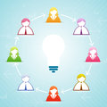 Idea think tank vector illustration of conceptual people collaborating a bigger Stock Photo