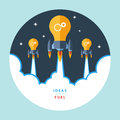 Idea is your fuel. Flat design colorful vector illustration concept for creativity, big idea. Royalty Free Stock Photo