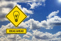 Ideas ahead road sign with sky Stock Image