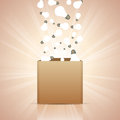 Ideas into the box vector illustration of light bulbs pouring Royalty Free Stock Image