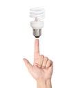 Ideas bulb light on hand a Royalty Free Stock Photos