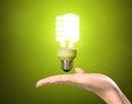 Ideas bulb light on hand a Stock Image